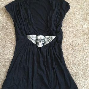 Sky Brand Black Silver Skull Top Size XS